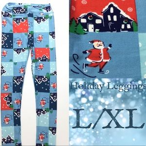 LuLaRoe KIDS L/XL Holiday Leggings Skating Santa